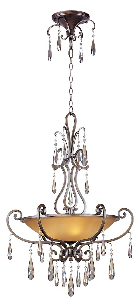 "Chic Collection 4-Light 43"" Heritage Bronze Pendant with Cognac Glass and Crystal 14304COHR"