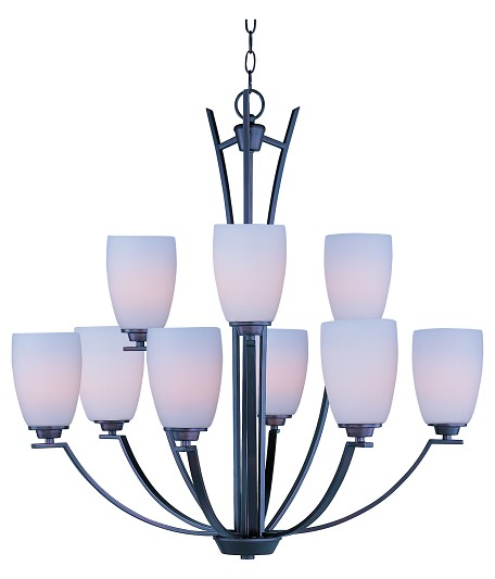 Maxim Nine Light Oil Rubbed Bronze Satin White Glass Up Chandelier - 20026SWOI