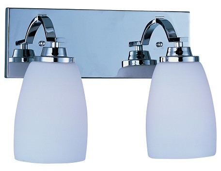 Maxim Two Light Polished Chrome Satin White Glass Vanity - 20027SWPC