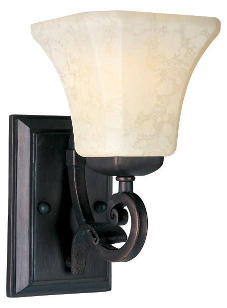 "Oak Harbor Collection 1-Light 6"" Rustic Burnished Wall Sconce with Frost Lichen Glass 21063FLRB"