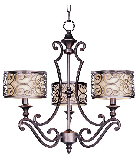 "Mondrian Collection 3-Light 23"" Umber Bronze Chandelier 21153WHUB"