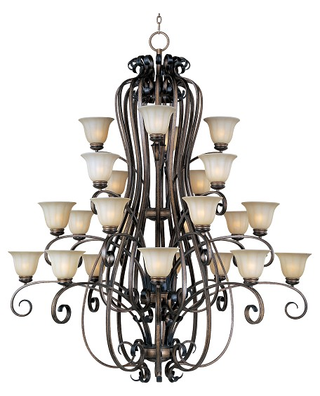 Twenty Four Light Platinum Dusk Wilshire Glass Up Chandelier