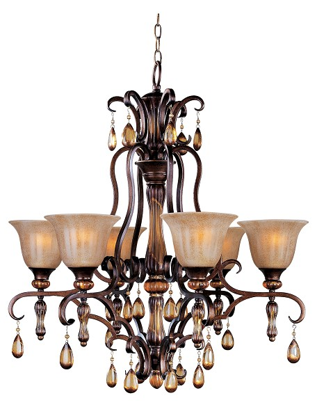 "Dresden Collection 6-Light 33"" Filbert Crystal Chandelier with Frosted Ember Glass 22265EMFL"