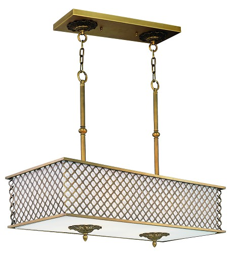 Maxim Eight Light Natural Aged Brass Down Pendant - 22365OMNAB