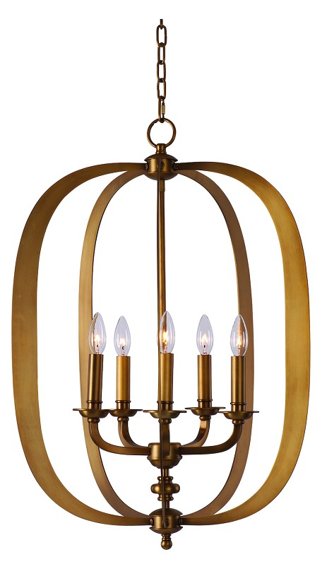 Maxim Five Light Natural Aged Brass Up Pendant - 22373NAB