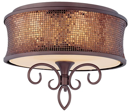 "Alexander Collection 3-Light 17"" Bronze Ceiling Mount with Shimmer Drum Shade 24160SBUB"