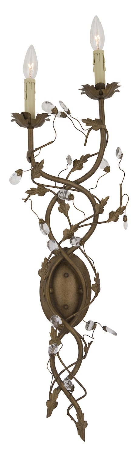 "Elegante Collection 2-Light 34"" Etruscan Gold Wall Sconce 2858EG"
