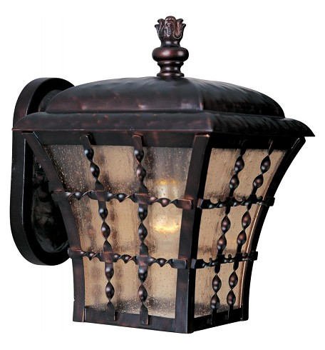 "Orleans Collection 1-Light 10"" Oil Rubbed Bronze Outdoor Wall Lantern with Amber Seedy Glass 30492ASOI"