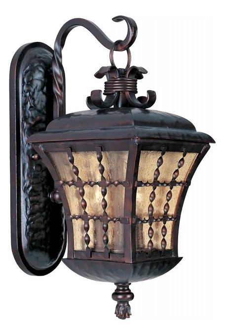 "Orleans Collection 3-Light 21"" Oil Rubbed Bronze Outdoor Wall Lantern with Amber Seedy Glass 30495ASOI"