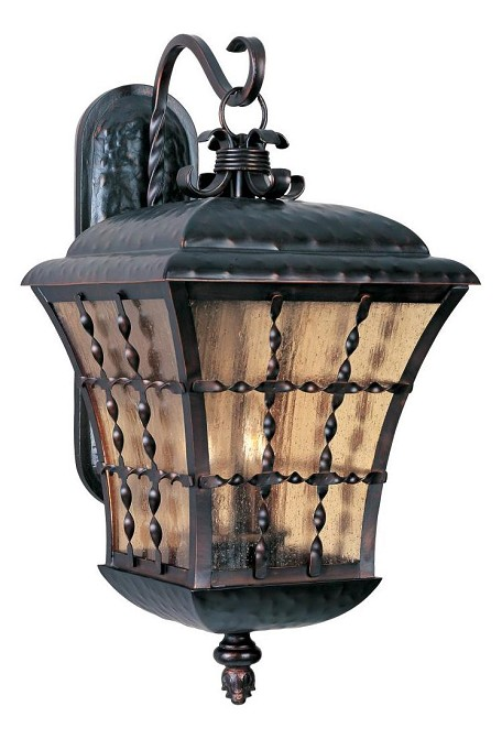 "Orleans Collection 3-Light 24"" Oil Rubbed Bronze Outdoor Wall Lantern with Amber Seedy Glass 30496ASOI"