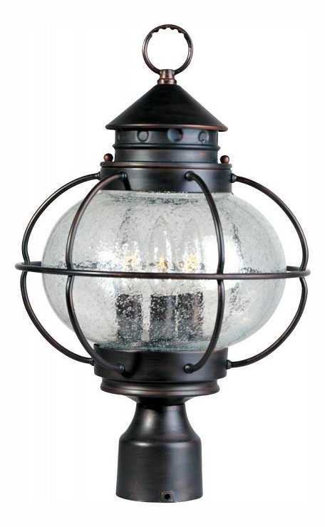 "Portsmouth Collection 3-Light 16"" Oil Rubbed Bronze Outdoor Post Lantern with Seedy Glass 30500CDOI"