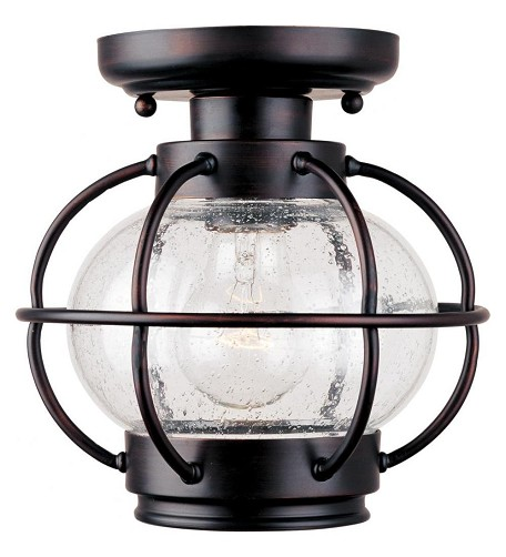 "Portsmouth Collection 1-Light 9"" Oil Rubbed Bronze Outdoor Ceiling Mount with Seedy Glass 30508CDOI"