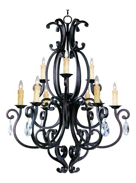 "Richmond Collection 9-Light 44"" Colonial Umber Chandelier 31006CU/CRY083"