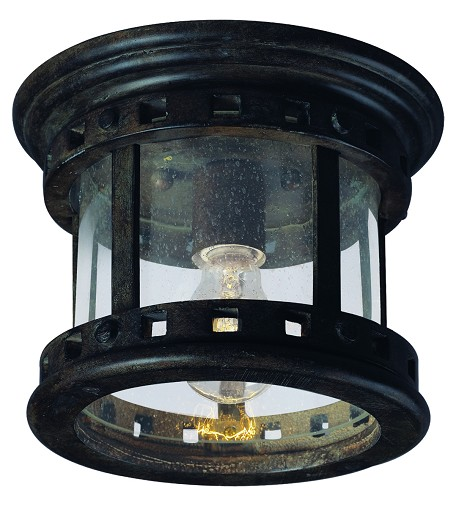 "Santa Barbara Collection 1-Light 9"" Sienna Outdoor Ceiling Light with Seedy Glass 3130CDSE"