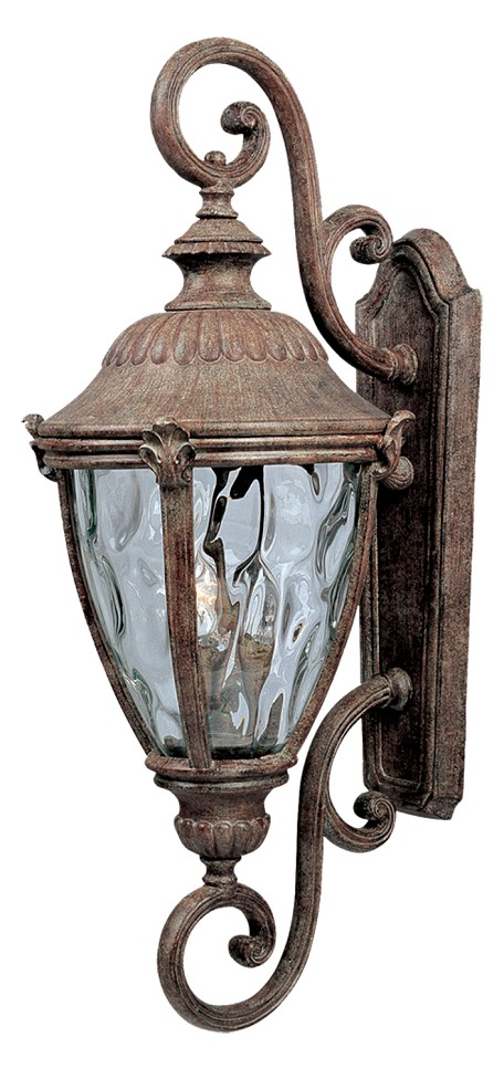 "Morrow Bay 3-Light 27"" Earth Tone Outdoor Wall Light with Water Glass 3188WGET"