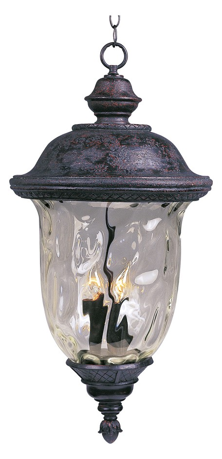 "Carriage House Collection 3-Light 12"" Oriental Bronze Outdoor Hanging Light with Water Glass 3427WGOB"