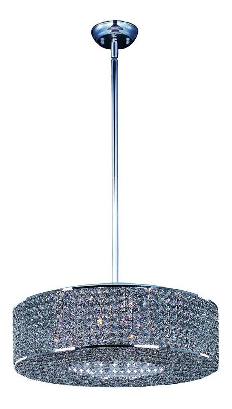Maxim Six Light Plated Silver Beveled Crystal Glass Drum Shade Pendant - 39895BCPS