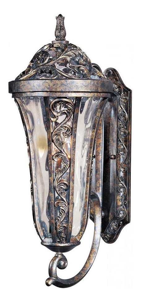 "Montecito 4-Light 31"" Tortoise Outdoor Wall Lantern with Water Glass 40145WGTR"