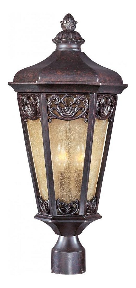 "Lexington Collection 3-Light 24"" Colonial Umber Outdoor Post Mount Lantern 40170NSCU"
