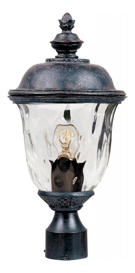 "Carriage House VX Collection 1-Light 19"" Oriental Bronze Outdoor Post Lantern with Water Glass 40426WGOB"