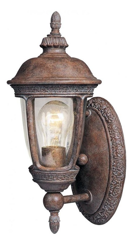 "Knob Hill Collection 1-Light 6"" Sienna Outdoor Wall Light with Seedy Glass 40462CDSE"