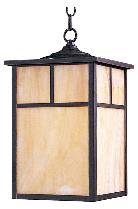 "Coldwater Collection 1-Light 9"" Burnished Outdoor Hanging Light with Honey Glass 4058HOBU"