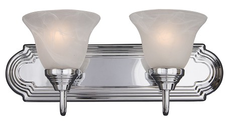 "Essentials Collection 2-Light 18"" Polished Chrome Vanity with Marble Glass 8012MRPC"