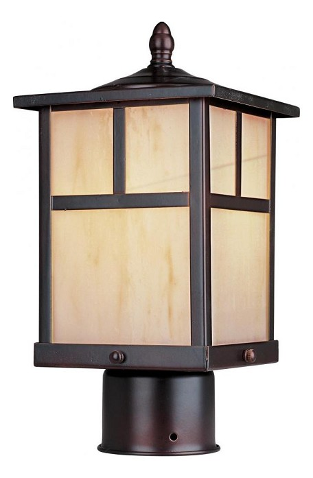 "Coldwater Collection 1-Light 12"" Burnished Outdoor Pier/Post Mount with Honey Glass 85055HOBU"