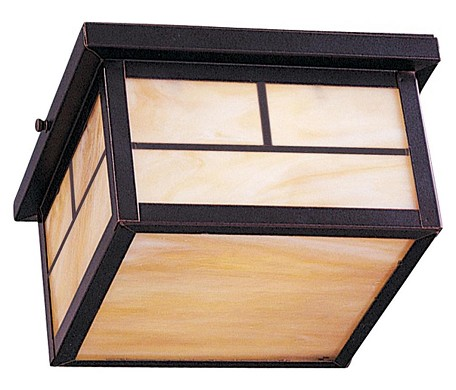 "Coldwater Collection 2-Light 9"" Burnished Outdoor Ceiling Light with Honey Glass 85059HOBU"