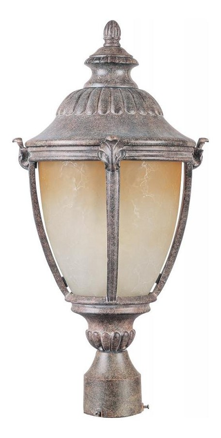 "Morrow Bay Energy Star 1-Light 24"" Earth Tone Outdoor Pole/Post Light with Latte Glass 85181LTET"