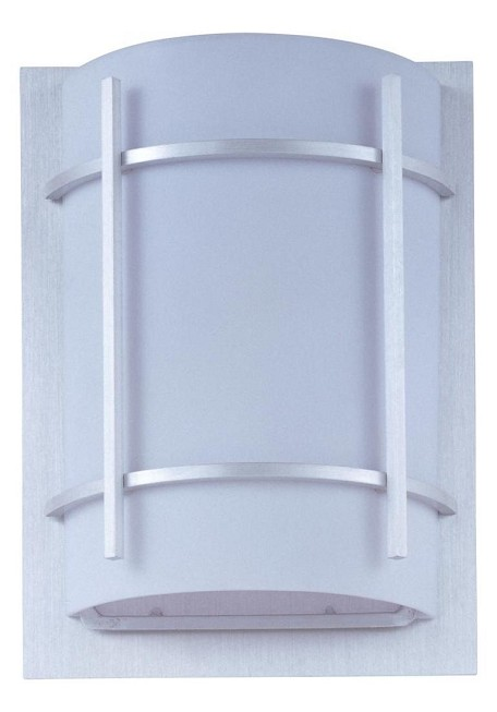 "Luna Collection 1-Light 9"" Brushed Metal Outdoor Wall Light with White Glass 85215WTBM"