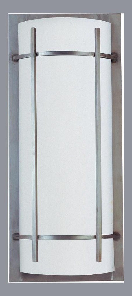 "Luna Collection 2-Light 9"" Brushed Metal Outdoor Wall Light with White Glass 85216WTBM"