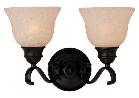 "Linda Collection 2-Light 14"" Oil Rubbed Bronze Vanity with Wilshire Glass 85808WSOI"