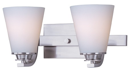 "Conical Collection 2-Light 13"" Satin Nickel Vanity with Satin White Glass 9012SWSN"