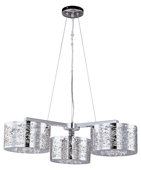 Polished Chrome Inca Single-Tier Chandelier with 3-Lights