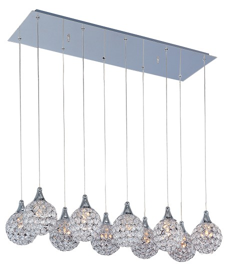 Polished Chrome / Crystal Glass 10 Light 33in. Wide Pendant from the Brilliant Collection