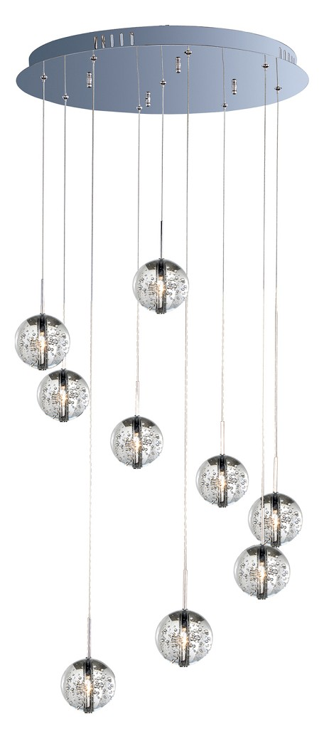Polished Chrome / Bubble Glass 9 Light 21.75in. Wide Pendant from the Orb Collection