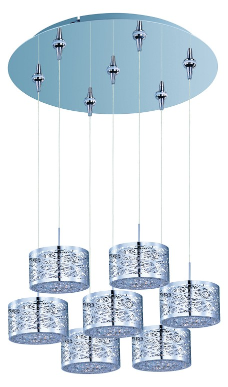 Polished Chrome 7 Light 17in. Wide Pendant from the Inca Collection