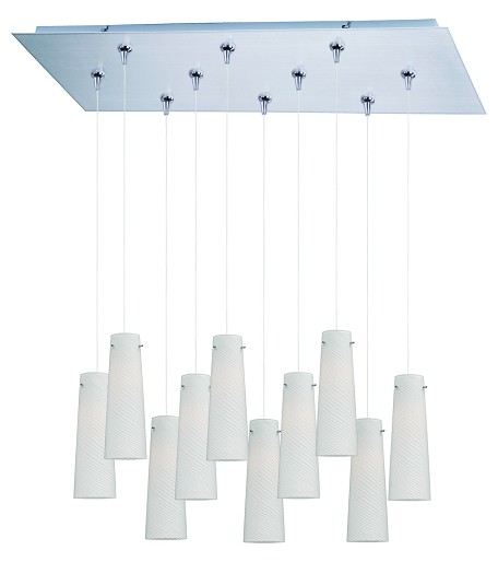 Satin Nickel 10 Light 12.5in. Wide Pendant from the Minx Collection
