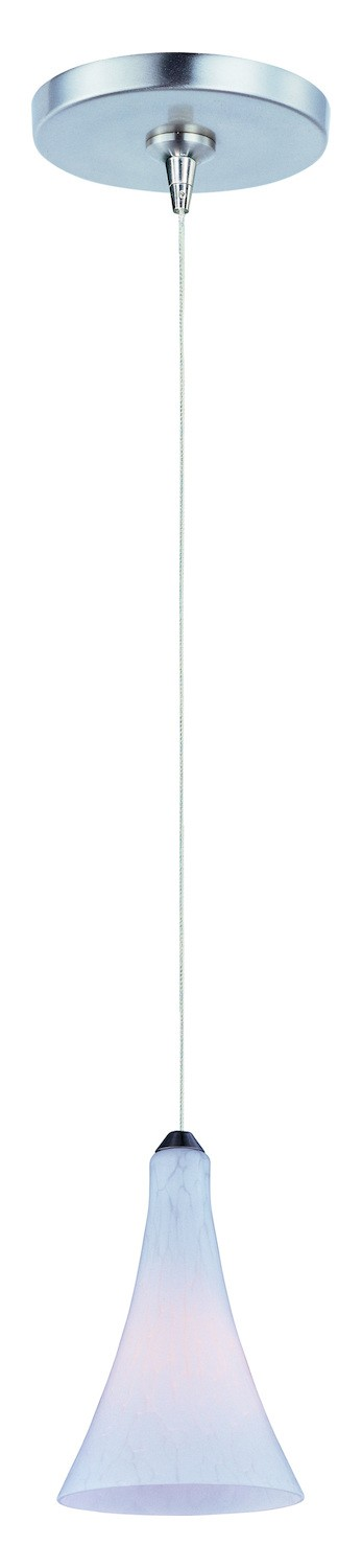 Satin Nickel / White Leopard Glass 1 Light 5in. Wide RapidJack Pendant and Flush Mount Canopy from the Leopard Collection