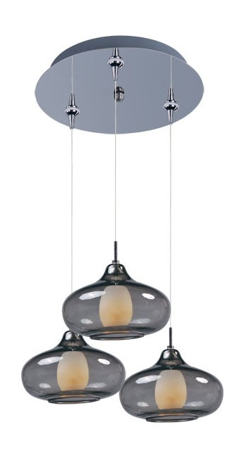 Polished Chrome With Amber Glass Graduating Collection 3 Light Onion Shade Foyer Pendant - Bulbs Included