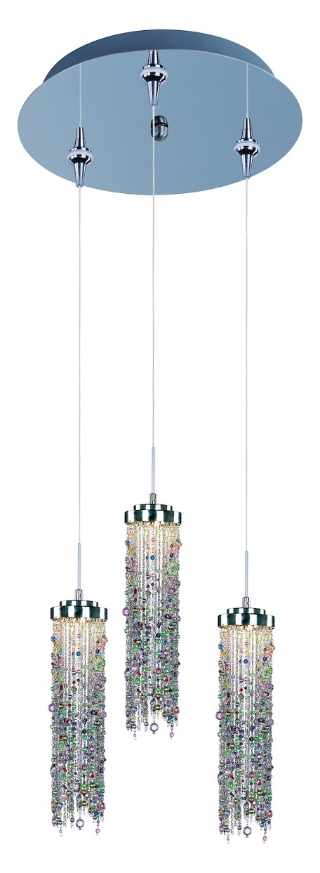 Polished Chrome / Multi Color Glass 3 Light LED 11.75in. Wide RapidJack Pendant and Canopy from the Bianca Collection