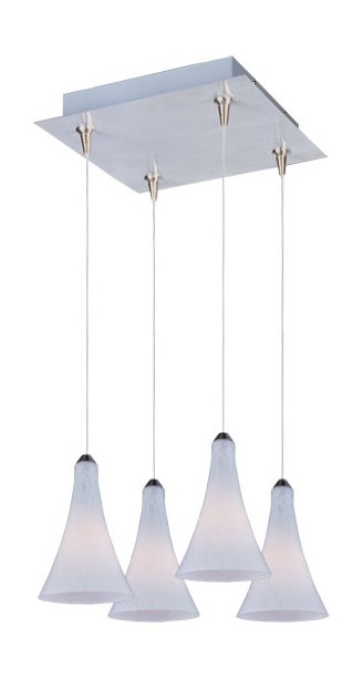 Satin Nickel / White Leopard Glass 4 Light 10.75in. Wide RapidJack Pendant and Canopy from the Leopard Collection