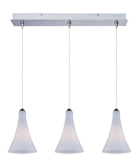 Satin Nickel / White Leopard Glass 3 Light 24.25in. Wide RapidJack Pendant and Canopy from the Leopard Collection