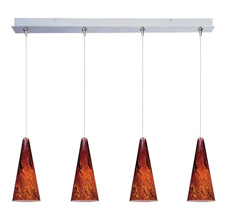 Satin Nickel / Amber Lava Glass 4 Light 34.25in. Wide RapidJack Pendant and Canopy from the Lava Collection