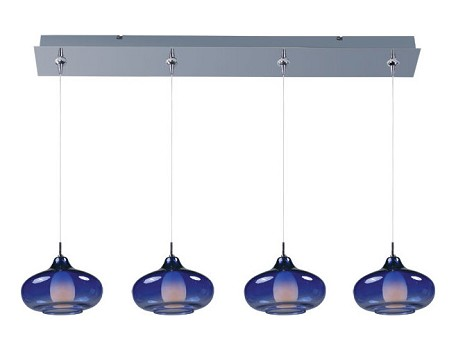 Polished Chrome With Amber Glass Graduating Collection 4 Light Linear Foyer Pendant - Bulbs Included