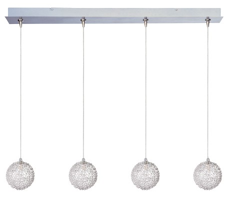 Satin Nickel With Amber Starburst Starburst 4 Light Linear Foyer Pendant - Bulbs Included