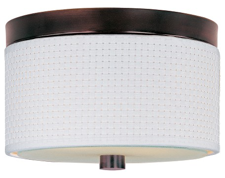 Oil Rubbed Bronze Elements 2-Bulb Flush Mount Indoor Ceiling Fixture - Fabric Shade Included