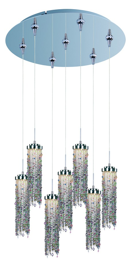 Polished Chrome / Multi Color Glass 7 Light LED 17in. Wide RapidJack Pendant and Canopy from the Bianca Collection