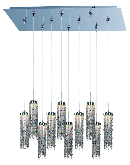 Polished Chrome / Multi Color Glass 10 Light LED 31.5in. Wide RapidJack Pendant and Canopy from the Bianca Collection